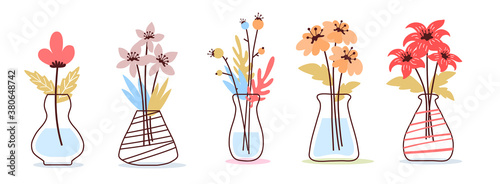 Vector set of romantic illustration of beautiful flower in a vase on white color background. #380648742