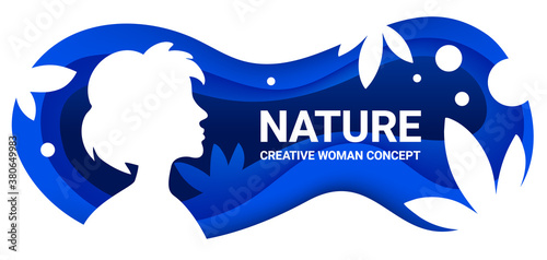 Vector beautiful spring time illustration with woman silhouette and paper cut leaf and wave on blue color background. #380649983