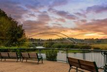 Park Benches At Riverfront Park In Salem Oregon During Sunset