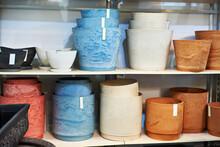 Colorful Flower Pots On Shelf ...