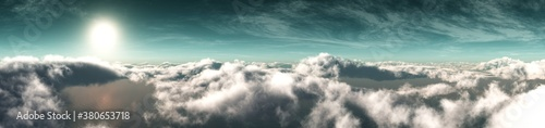 Tela Sunrise over the clouds, cloudy landscape, flight over the clouds, banner, 3d re
