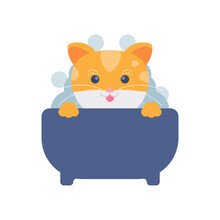 Illustration Of A Cute Cat Bathing In A Bathtub Or Basin. The Concept Of Caring For Animals, Maintaining Cleanliness And Health. Flat Design. Can Be Used For Elements, Landing Pages, UI, Website