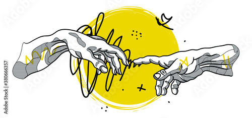 Stampa su Tela Creative geometric yellow style