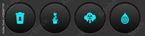 Photo Set Send to the trash, Electric saving plug in pot, Acid rain and radioactive cloud and Earth planet water drop icon