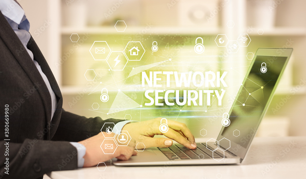 Fototapeta NETWORK SECURITY inscription on laptop, internet security and data protection concept, blockchain and cybersecurity