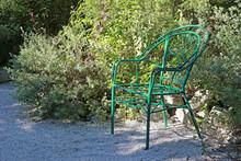 Vintage Green Wrought Iron Arm...