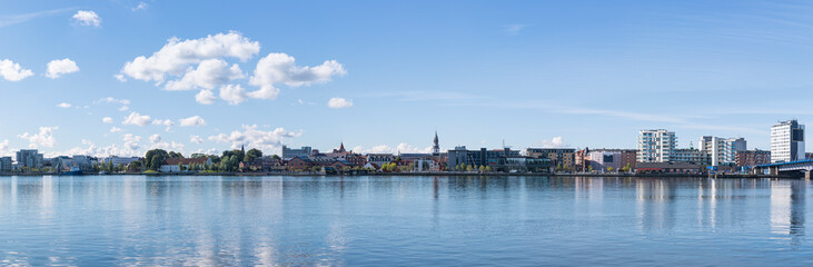 Panoramic view of the waterfront of the city of Aalborg, Denmark