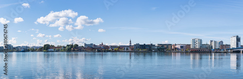 Fototapeta Panoramic view of the waterfront of the city of Aalborg, Denmark