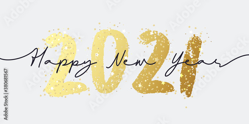 Fototapeta Happy New Year 2021 brush painted calligraphy numbers with sparkles and glitter. Vector illustration background for new year's eve and seasonal holidays flyers, greetings and invitations. obraz