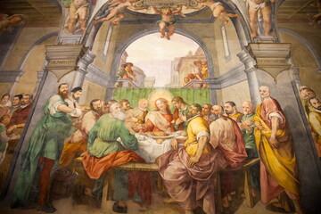 Italia, Toscana, Firenze, Chiesa di Santo Spirito. Il Cenacolo con tre affreschi dell'ultima cena.