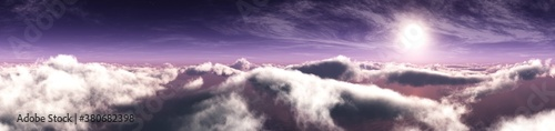 Sunrise over the clouds, cloudy landscape, flight over the clouds, banner, 3d re Canvas