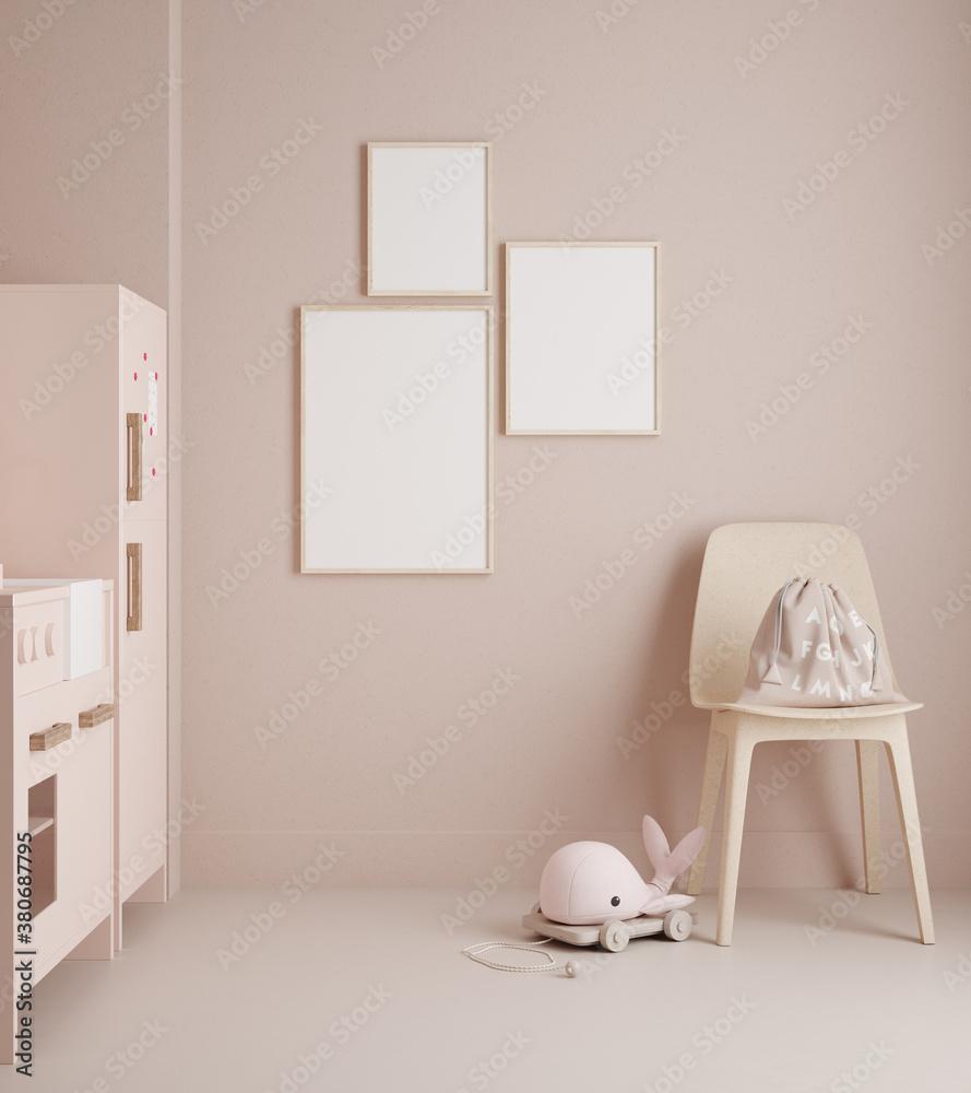 Fototapeta Monochromatic girls room in pastel pink colors