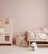 canvas print picture - Monochromatic girls room in pastel pink colors