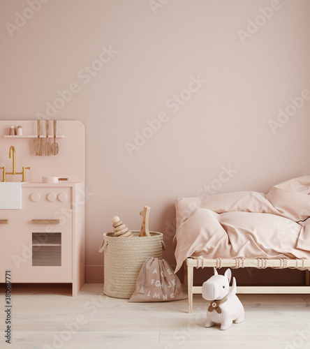 Monochromatic girls room in pastel pink colors - 380687771