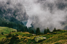 Swiss Mountain Valley With Bar...