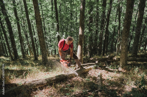 Man cutting wood with a chainsaw - 380697304