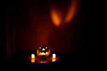 Halloween Pumpkin And Its Refl...