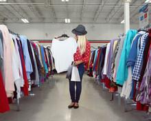 Girl Shopping At Vintage Cloth...
