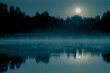 Night mystical scenery. Full moon over the foggy river and its reflection in the still water.