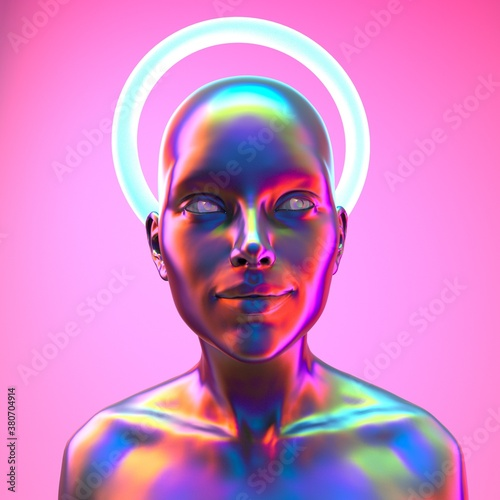 Foto Human or robot with halo above the head