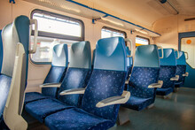 Moscow, Russia, August 23, 2020. Interior Of The Carriage Of A Modern High-speed Regional Train