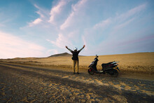 Motorcycle Drive In The Desert