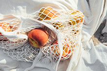 Net Tote Bag Full Of Fruit