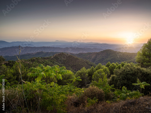 Fotografie, Obraz Take at dusk of the vegetation and reliefs in the natural park of the mountains of Malaga