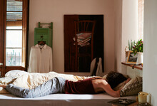 Anonymous Woman Sleeping At Home