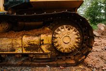 Muddy Buldozer Track Close Up