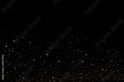 Fototapeta Golden glitter light effect. Background bright shining confetti particles obraz