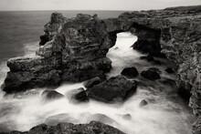 Rough Sea In Black And White