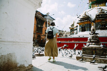 Woman Near A Small Stupa In Ka...