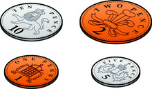 Stylised UK Sterling Low Value Penny Coins. 1, 2, 5, 10 Pence.