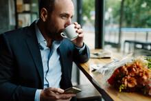 Adult Man Drinking Coffee