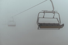 Ropeway In Fog Without People