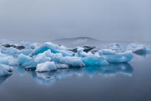 Turquoise Icebergs Floating
