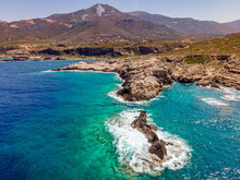 Crete Coast View With Rocks An...