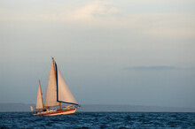 Double Masted Sailboat Is Sailing In Headwind