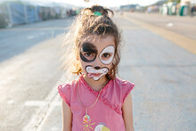 Kid Face-painted Like A Dog