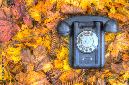 old broken phone on the autumn street HDR Canvas Print