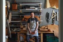 Portrait Of A Craftsman Craftsman In His Leather Workshop