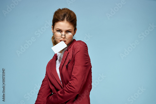 Elegant woman red jacket business card official confident lifestyle blue backgro Canvas Print
