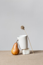 Still Life With A Cup And A Pear