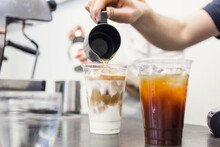 Pouring An Iced Latte