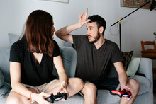 Young Couple Playing Video Game