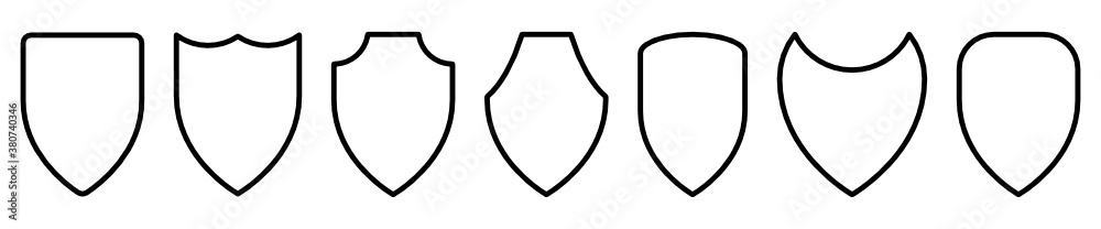 Fototapeta Set of black shield vector icon. Protect symbols