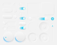 Set Of Modern Trendy Smoothy Vector Buttons For Apps And Website Designs. Neomorphism