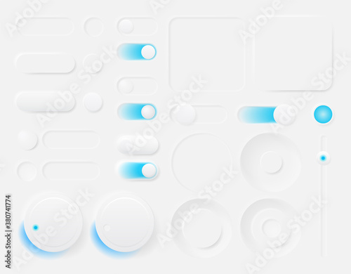 Fototapeta Set of modern trendy smoothy vector buttons for apps and website designs. Neomorphism obraz
