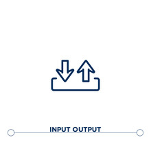 Input Output Outline Vector Icon. Thin Line Black Input Output Icon. Flat Vector Simple Element Illustration. Editable Vector Stroke Input Output Icon On White Background